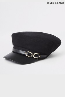 River Island Black Brushed Trim Cap With PU Peak
