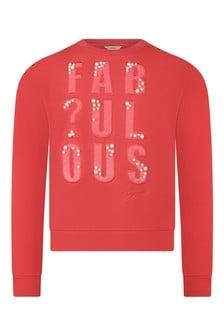 Girls Red Cotton Fabulous Sweater