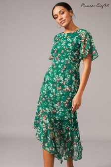 Phase Eight Green Coralee Textured Floral Dress