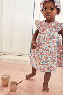 Mini Boden Pink Floral Nostalgic Smocked Dress