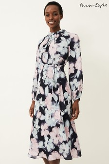 Phase Eight Blue Ella Floral Print Dress