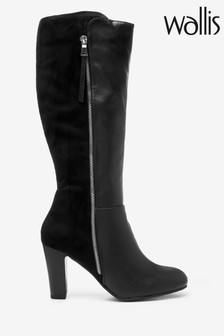 Wallis Black Harmony Formal Side Zip High Leg Boots