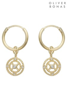 Oliver Bonas Gold Plated Outline & Stone Hoop Earrings