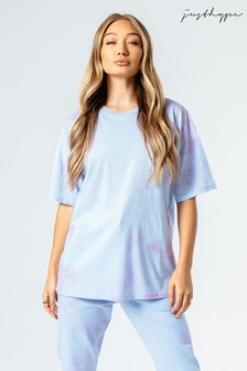 Hype. Womens Blue/Pink Tie Dye Oversized T-Shirt