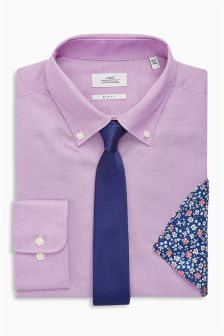 Oxford Slim Fit Button Down Shirt With Tie And Pocket Square Set