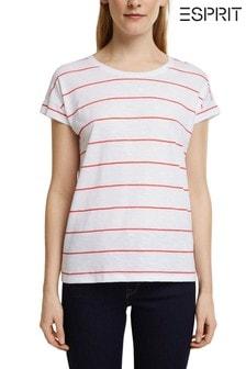 Esprit White Striped Organic Cotton Top