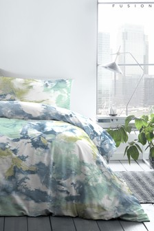 Fusion Blue Tie Dye Easy Care Duvet Cover And Pillowcase Set