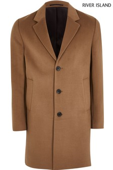 River Island Light Camel Overcoat