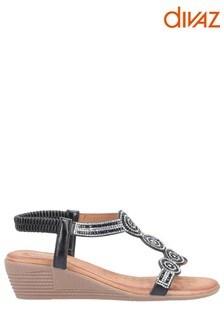 Divaz Black Sasha Slip-On Sandals