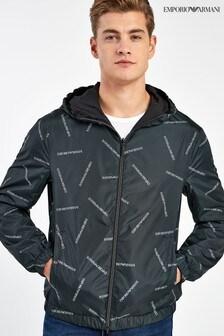 Emporio Armani Black/White Reversible Logo Jacket
