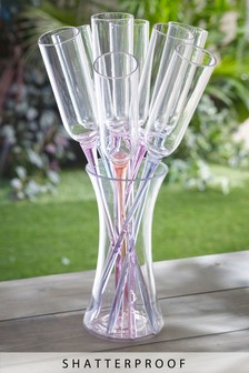 Set of 6 Plastic Flute Glasses & Bucket