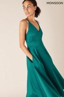 Monsoon Blue Stevie Structured Sleeveless Midi Dress