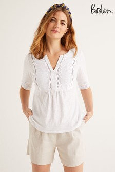 Boden White Margot Broderie Jersey Top