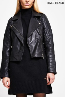 River Island Black Quilted Placket Leather Biker Jacket
