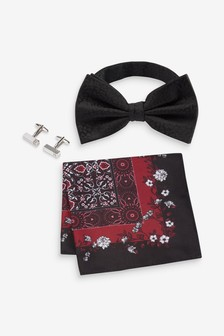 Bow Tie Pocket Square And Cuff Link Set
