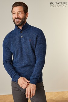 Signature Lambswool Button Neck Jumper