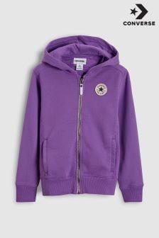 Фиолетовая толстовка на молнии с капюшоном Converse