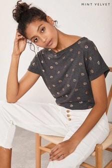 Mint Velvet Charcoal Lips Foil Print T-Shirts