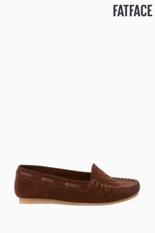 FatFace Brown Wells Woven Moccasins