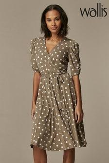 Wallis Taupe Spot Prawn Sleeve Dress