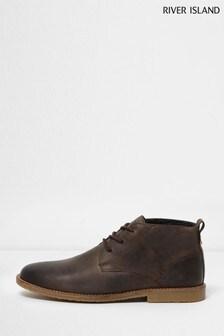 River Island Dark Brown Bandit Leather Desert Boots
