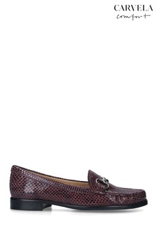 Carvela Red Click Printed Leather Loafers
