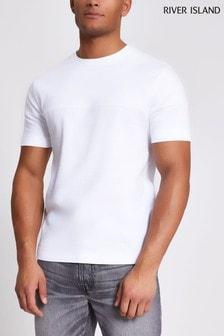 חולצת טי בעלת מרקם בצבע לבן עם דוגמת בלוק של River Island