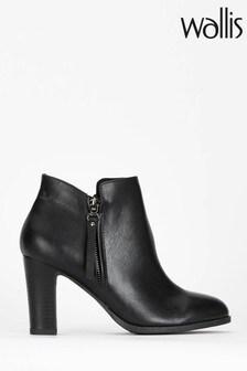 Wallis Black Aluna Long Zip Pull Ankle Boots