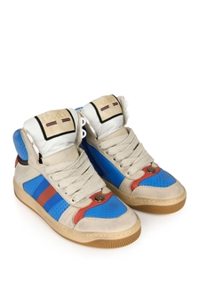 Kids Beige & Blue Screener High Trainers