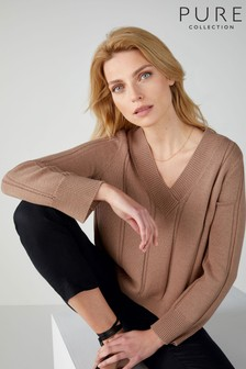 Pure Collection Natural V-Neck Cricket Sweater