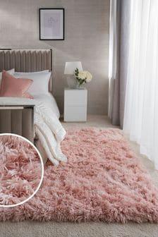 Blush Pink Grace Luxurious High Pile Rug