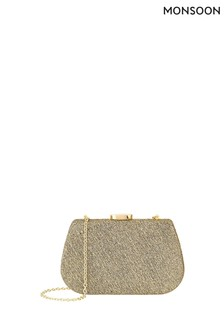 Monsoon Gold Gigi Hard Clutch Bag