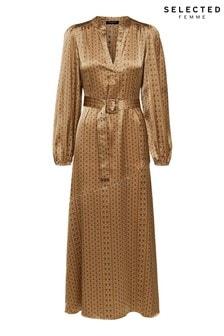 Selected Femme Gold Print Satin Midi Dress