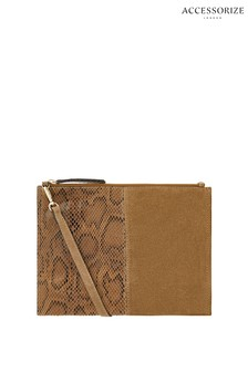 Accessorize Tan Carla Suede Cross Body Bag