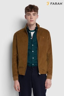 Farah Brown Bowie Cord Harrington Jacket