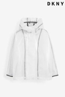 DKNY White Logo Hood Raincoat