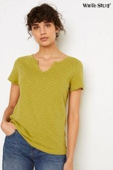 White Stuff Green Daisy Jacquard Jersey T-Shirt