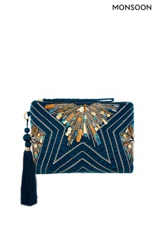 Monsoon Blue Sophie Star Embellished Zip Top Clutch