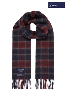 Joules Purple Tytherton Wool Checked Scarf