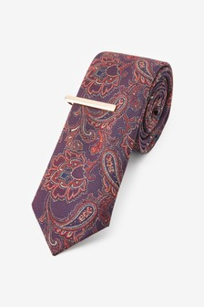 Paisley Pattern Tie With Tie Clip