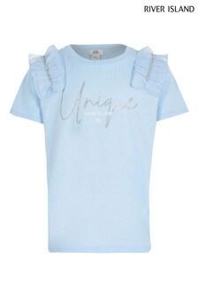 River Island Blue Light Diamanté Mesh T-Shirt
