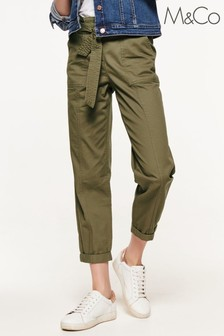 M&Co Green Cargo Paperbag Trousers
