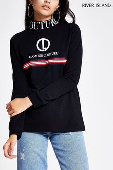 River Island High Neck Embroidered Couture Sports Tape T-Shirt
