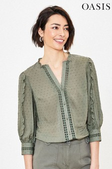 Oasis Green Dobby Lace Ruffle Shirt