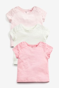 3 Pack Broderie T-Shirts (3mths-8yrs)