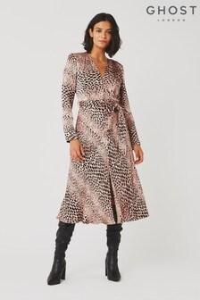 Ghost London Brown Meryl Animal Print Satin Dress