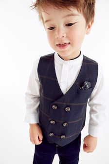 Double Breasted Waistcoat And Shirt Set (3mths-7yrs)
