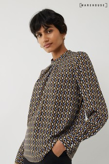 Warehouse Black Geo Print Top