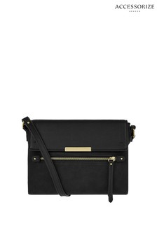 Accessorize Black Leather Messenger Cross Body Bag