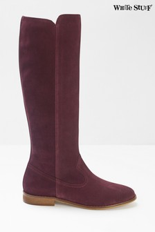 White Stuff Red Hailey Long Suede Flat Boots